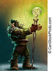 The strong orc shaman - a strong shaman orc with his magical...