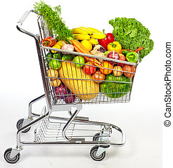 Grocery shopping cart with vegetables and fruits. Isolated...