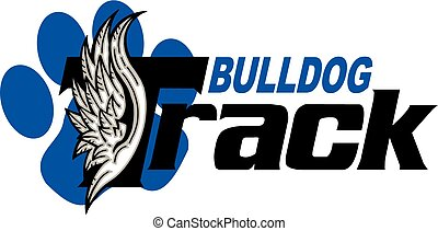 bulldog track team design with wings and large paw print