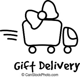 Vector line style gifts express delivery logotype. Truck...