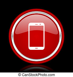 smartphone red glossy cirle web icon on black bacground