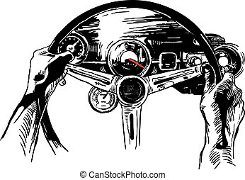 Vanishing Point, Freehand Sketching, Vector - Muscle Car...