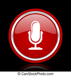 microphone red glossy cirle web icon on black bacground