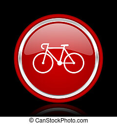 bicycle red glossy cirle web icon on black bacground