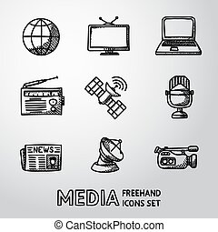 Set of handdrawn media icons - news, radio, tv, internet, earth, satellite, camera, microphone. Vector