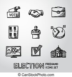 Set of handdrawn ELECTION icons with - vote box, handshake, portfolio, list, speaking man, infographics, check, white house. vector