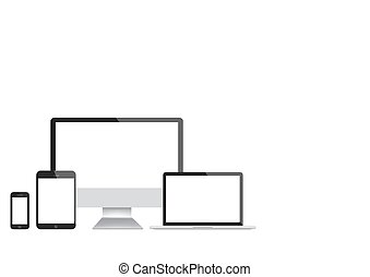 Modern computer, laptop, tablet and smartphone vector