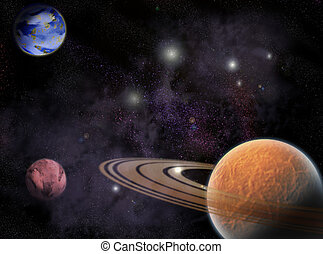 cosmos - Several Planets in outer spaces