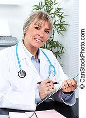 médico, mulher, maduras, doutor