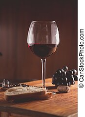 Wine glass on background of the bar