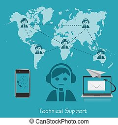 technical support, operator, vector illustration in flat...