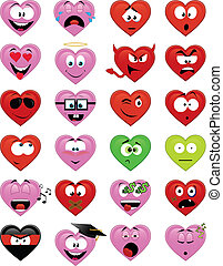 Heart-shaped smiley faces - Collection of 24 heart-shaped...