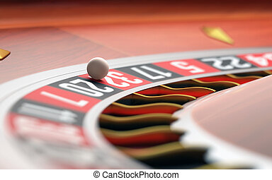 Casino Roulette - Playing roulette in the casino. Depth of...