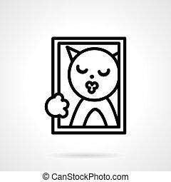 Cat portrait simple line vector icon.