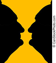 Vase Illusion 02 - Visual illusion either 2 faces or a vase