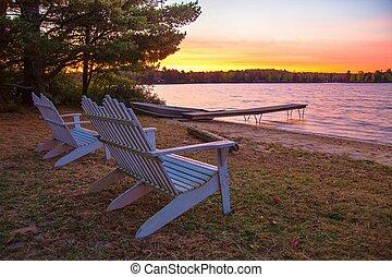 Lakeshore Sunrise - Sunrise on the lakeshore with Adirondack...