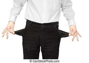 empty pockets - businessman bankrupt hands with two empty...