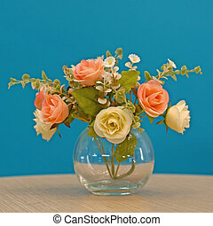 rose artificial flower in vase - colorful of rose artificial...