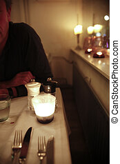 Candle lit dinner - intimate dinner in restaurant with...