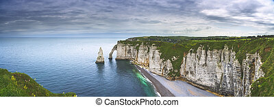 Etretat Aval cliff and rocks landmark and ocean Normandy,...
