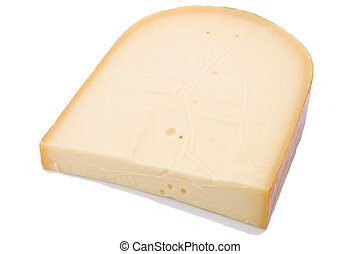Gouda cheese isolated on whte - Big chunk of Gouda cheese