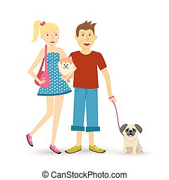 Happy young couple walking with pet