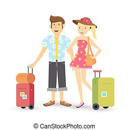Young couple summer vacation travel