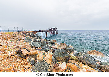 the old pier of the island