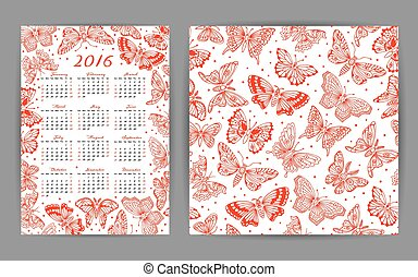 Calendar 2016 year and seamless pattern with decorative...