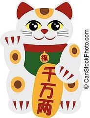 Maneki Neko Beckoning Cat Illustration - Maneki Neko...