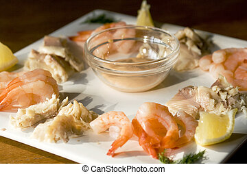 Fish platter - smoked trout, shrimps and cocktail sauce