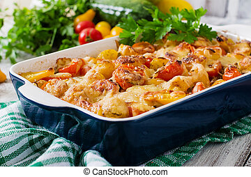 Vegetarian Vegetable casserole with zucchini, mushrooms and...