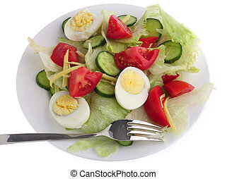 Plate of salad with fork