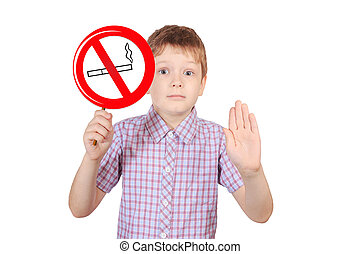 Child with a sign prohibiting smoking, the concept of...