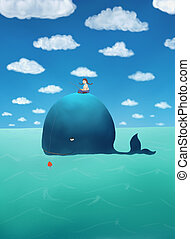 Fishing on a whale - Girl riding a whale and fishing