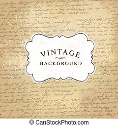Aged vintage old paper with handwritings background. Vector illustration