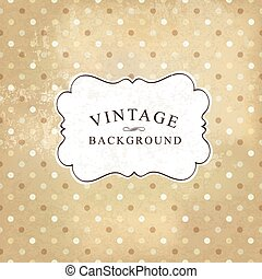 Aged vintage polka dot old paper background. Vector illustration