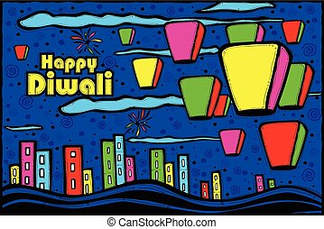 Diwali sky lamp in Indian art style - easy to edit vector...