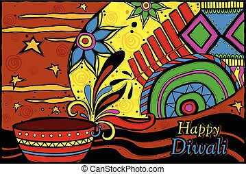 Happy Diwali background - easy to edit vector illustration...