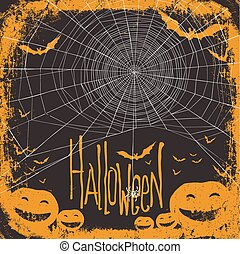 Halloween themed background with spider web
