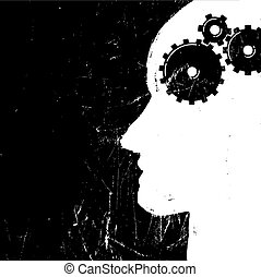 Gear in head piktogramm. Solution or imagination or...