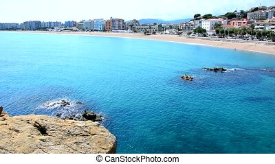 Blanes town beach - Static HD shot of the beach in the...