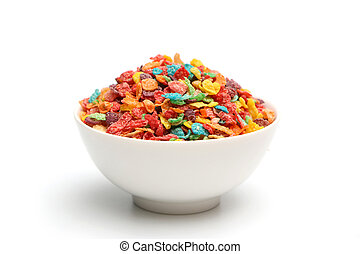 Breakfast Cereal - Breakfast cereal isolated on a white...