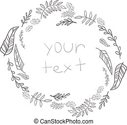 Outline grey frame leaves with text vector