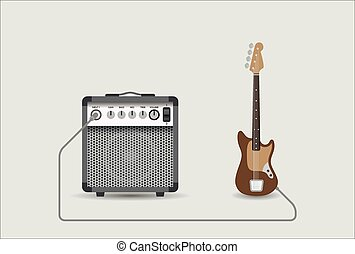 Guitar and combo - Bass guitar and combo, vector...