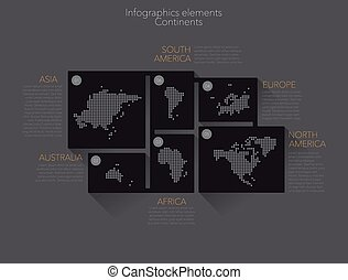 Continents - Earth continents, infographics elements Vector