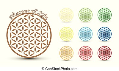 Flower Of Life - Flower of Life symbol, set of. Colorful...