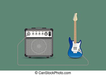 Electric guitar and combo, vector illustration
