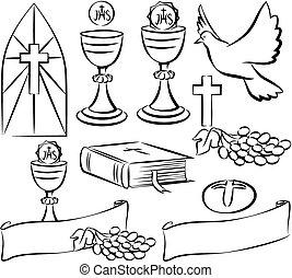 heilig, kommunion, -, vektor, Symbole,