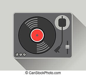 vinyl record player vector illustration